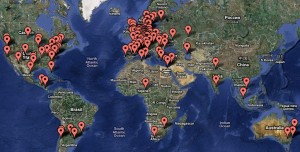 """My Mom Runs Ubuntu"" global map (map by Google)"